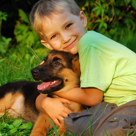 Young boy with his German Shepherd puppy