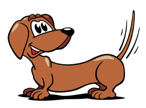 Cartoon Dachshund wagging his tail
