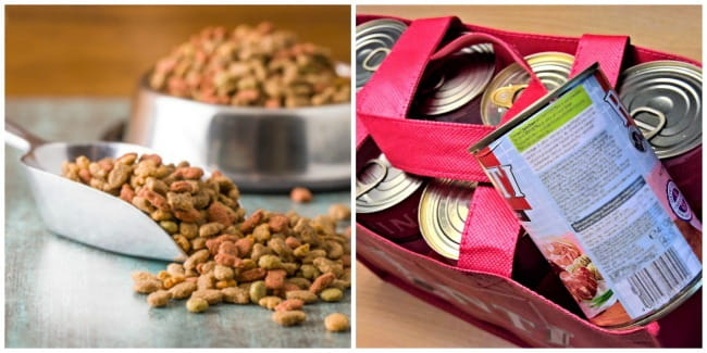 Photo collage of dry and canned dog food