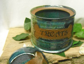 Glazed Ceramic Dog Treat Jar
