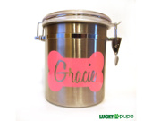 Personalized stainless steel dog treat canister