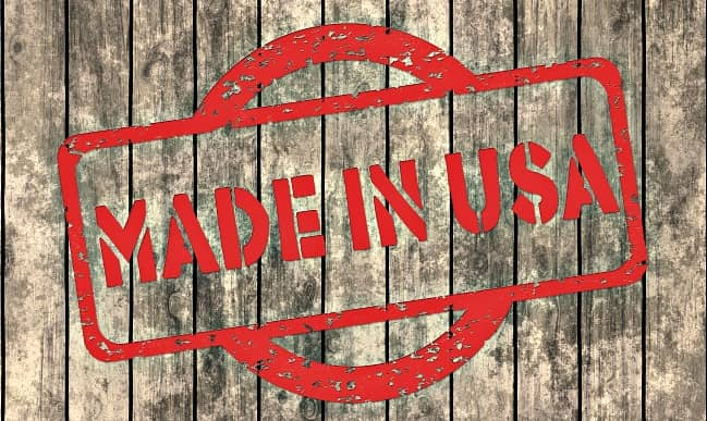 Made in USA brand on wooden board