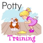 little girl potty training a puppy
