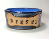 Personalized ceramic dog bowl
