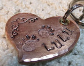Copper Heart-Shaped dog ID tag