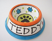 Colorful personalized ceramic dog bowl