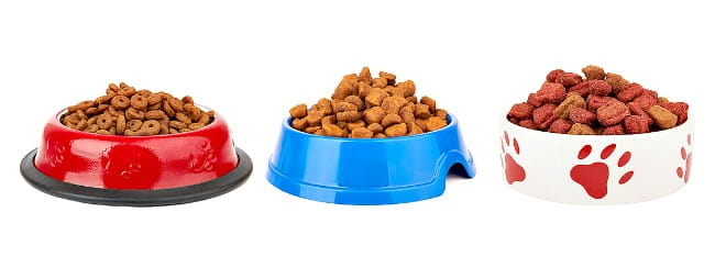 Three full dog food bowls in a row