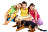 children and german shepherd puppy