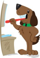 Puppy brushing his teeth