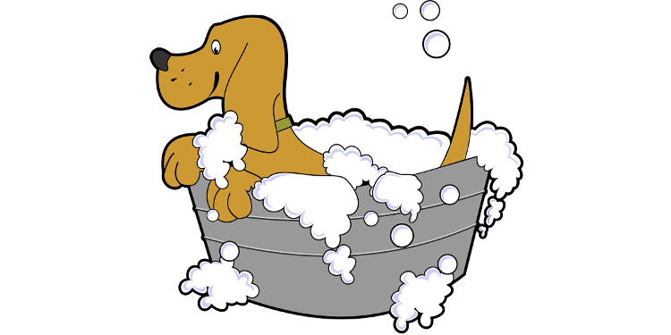 Puppy bathtime cartoon