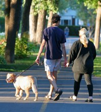 Couple taking their dog for a walk on vacation