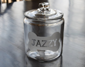 Personalized glass dog treat jar